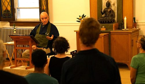 Hogen teaching in Buddha Hall -web